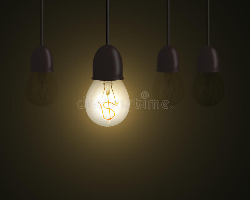 Lighting bulb with money symbol inside and unlighting others in dark space