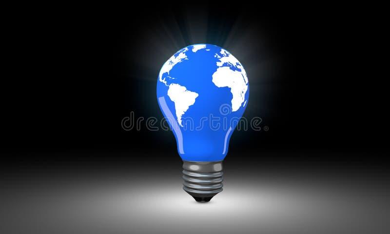 Lighting Bulb with world map. stock image