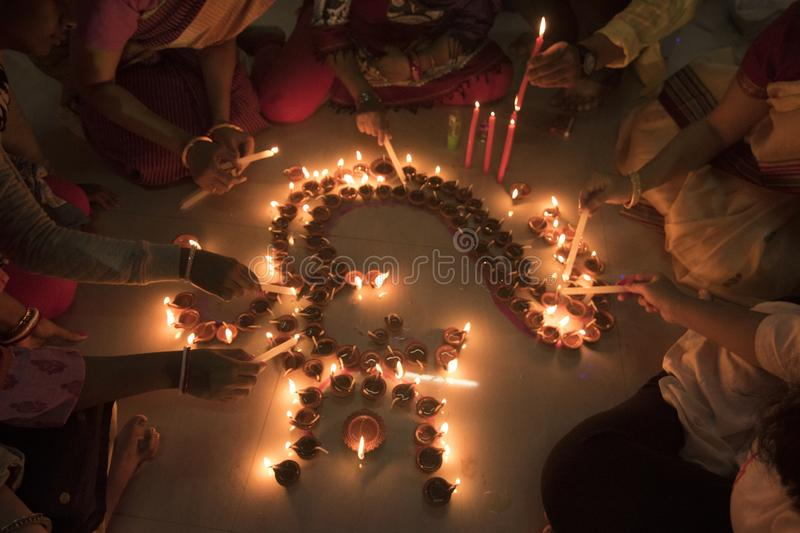 Diwali festival is being celebrated by lighting candles. Lighting candles in Diwali festival is just not about decoration, but also signifies the spirit of royalty free stock images