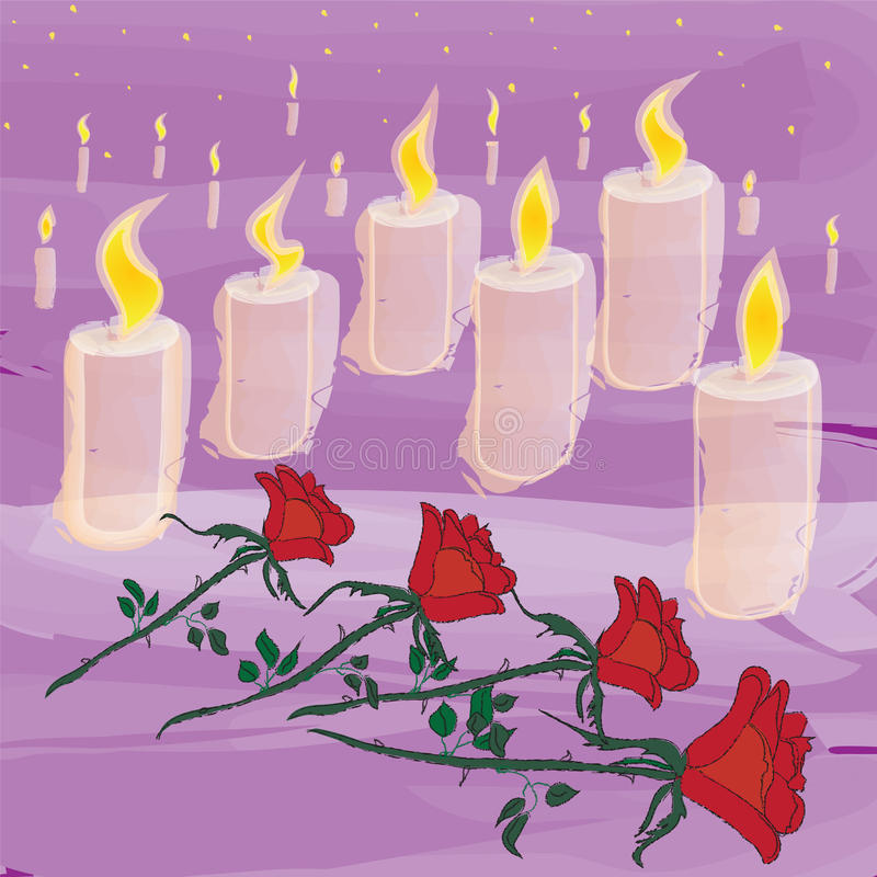 Download Lighting Candles And Flowers In Mourning Ceremony Stock Vector - Illustration of rose, funeral: 15908798