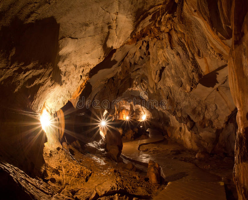 Lighting In Cave Royalty Free Stock Photography