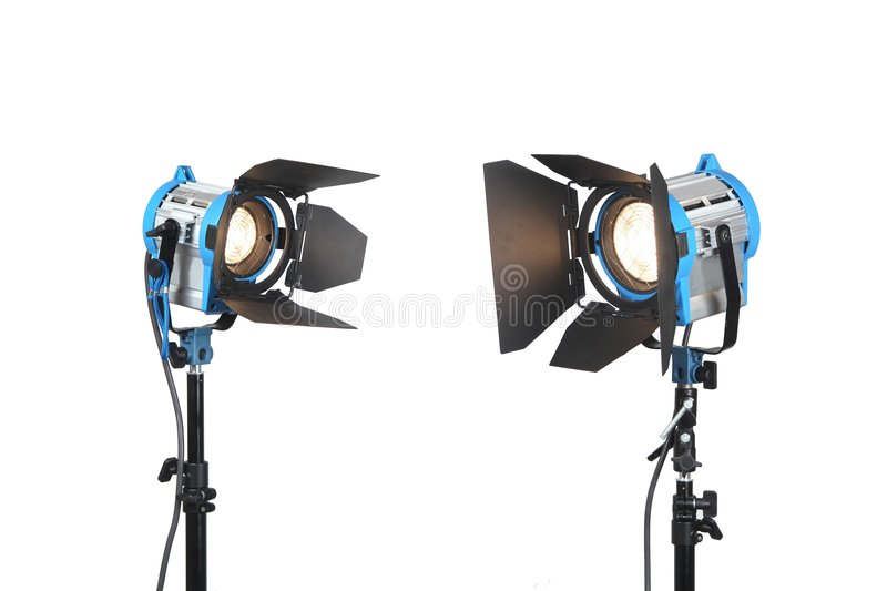 Lighting equipment 2 lamps lit, Isolated on white stock photography