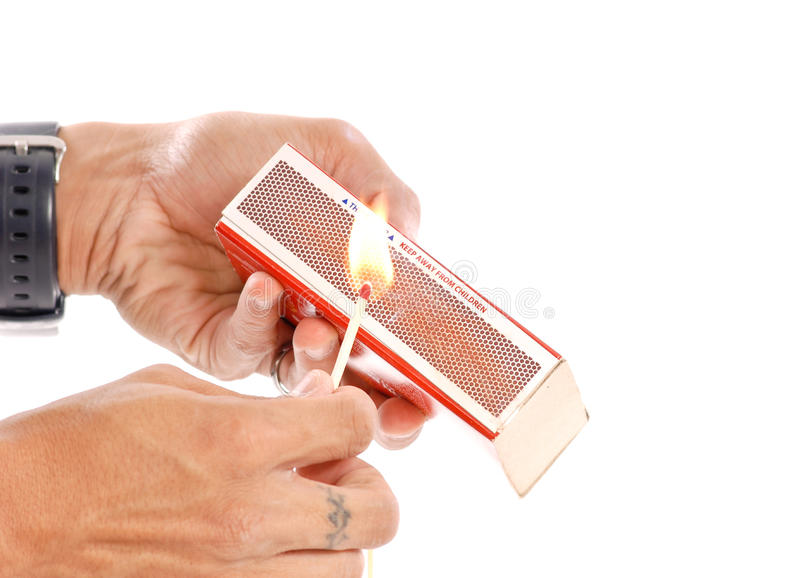 Download Lighting The Fire stock photo. Image of pyro, white, matchbox - 20505046