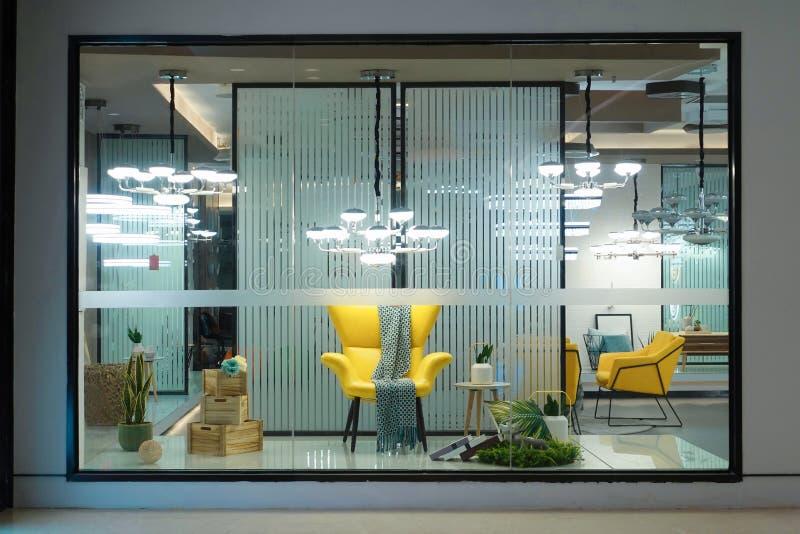 Lighting furniture display window shop window store window front stock image