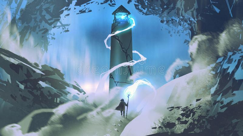 Lighting the lighthouse with magic vector illustration