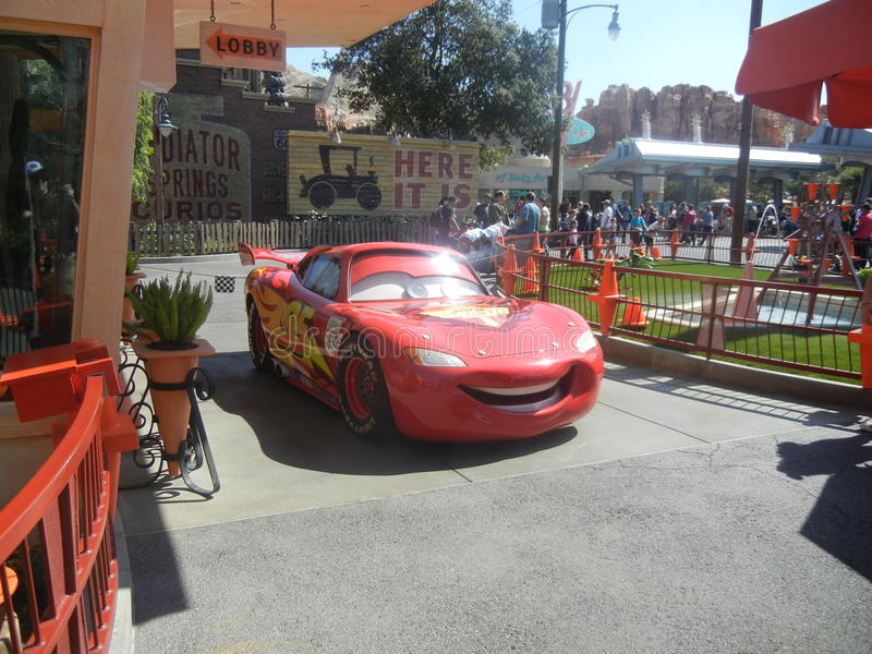 Lighting McQueen. The hero of the Disney movie Cars in Disney's California Adventure at Disneyland in Anaheim, California stock photo