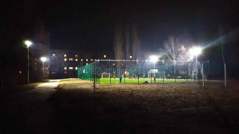 lighting for a mini soccer field royalty free stock photography