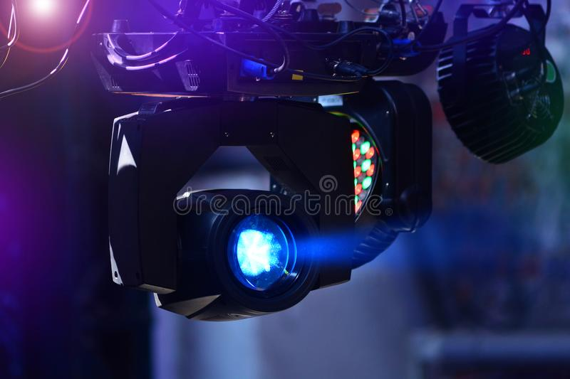 Lighting moving heads in a night club royalty free stock photo
