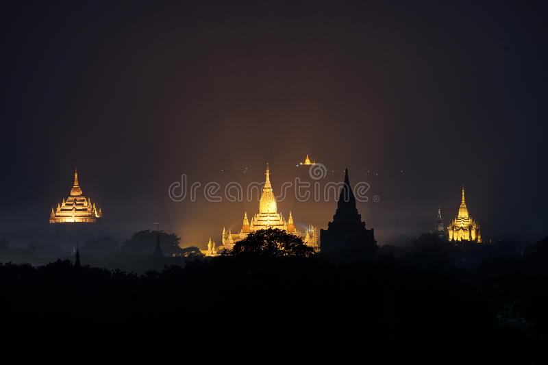 Lighting of old Ananda Temple. Old Bagan. Myanmar royalty free stock image