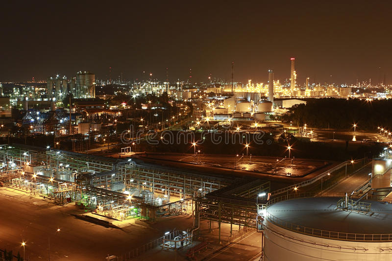 Download Lighting Of Petrochemical Factory In Night Time Stock Photo - Image: 28760500