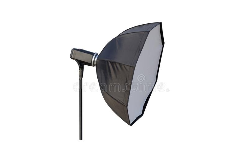 Lighting photographic umbrella isolated on white background royalty free stock images