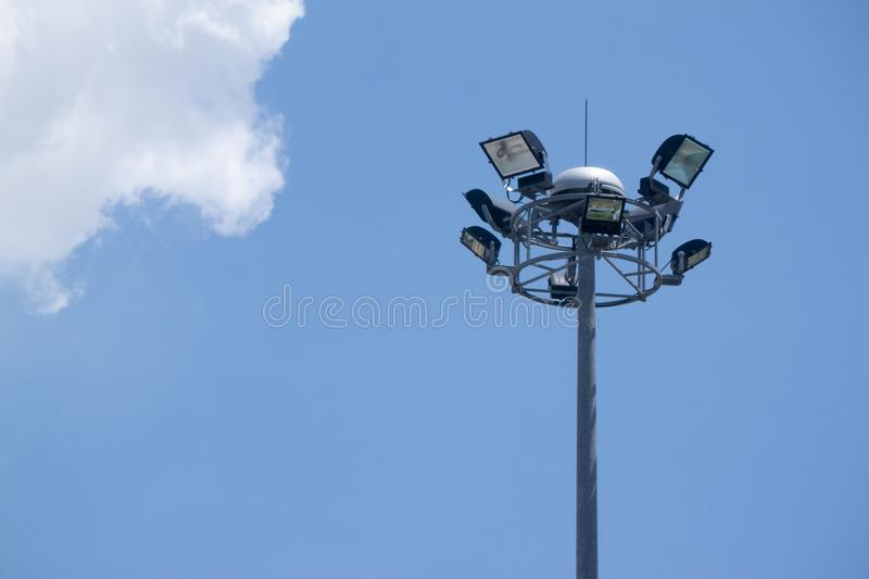 Lighting on the pole. Big lighting 4 way on the pole under blue sky with white cloud stock images