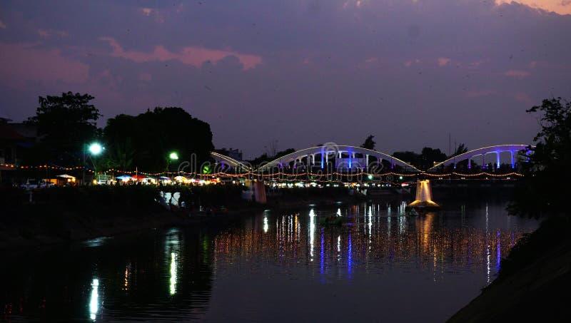 Lighting ratchadapisek bridge at night royalty free stock images