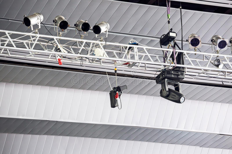 Lighting rig with spot lights stock images