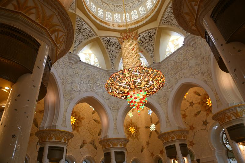 Lighting in Shaiekh Zayed Mosque - Abu Dhabi. Shaiekh Zayed Grand Mosque - Abu Dhabi - United Arab Emirates. It is the largest mosque in the country stock image