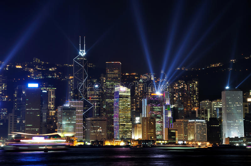 Lighting show of Hongkong Victoria harbor. Night view and lighting show of Hongkong victoria harbor stock photography