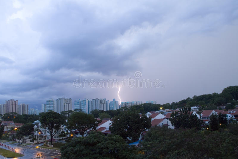 Download Lighting Strike On The Housing Area Stock Photo - Image: 27246976