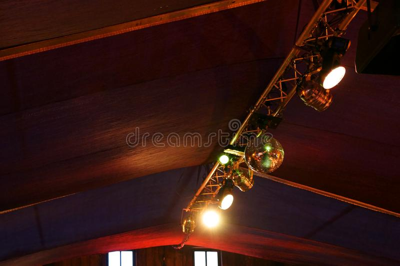 Disco lights under the roof royalty free stock images