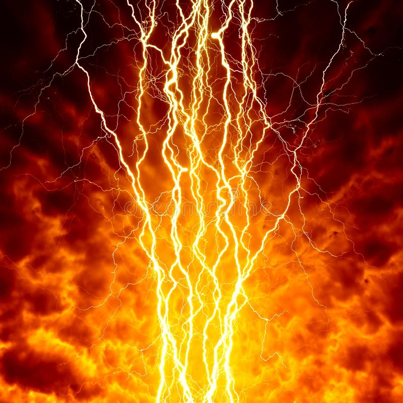 Lightings in sky. Apocalyptic, armageddon background - bright lightnings in dark red sky. Hell, inferno stock images