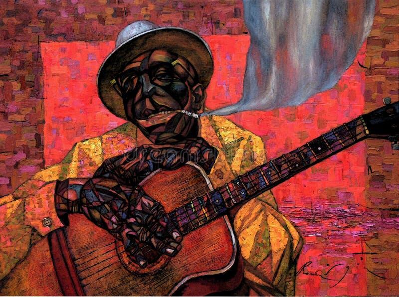 Lightnin ` Hopkins, obraz olejny, artysta Romański Nogin, serii ` jazz dźwięki ` obrazy stock