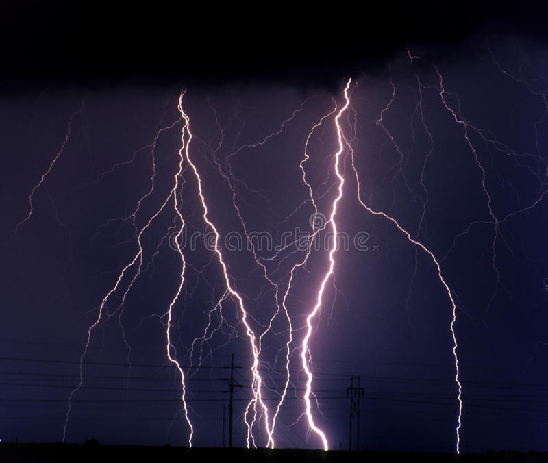 Lightning. Surges of Power Lines near Wichita, Kansas stock images
