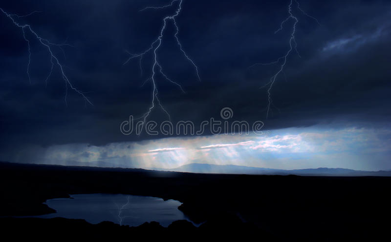 Lightning. Computer generated digital art of a lightning in the lake royalty free stock image