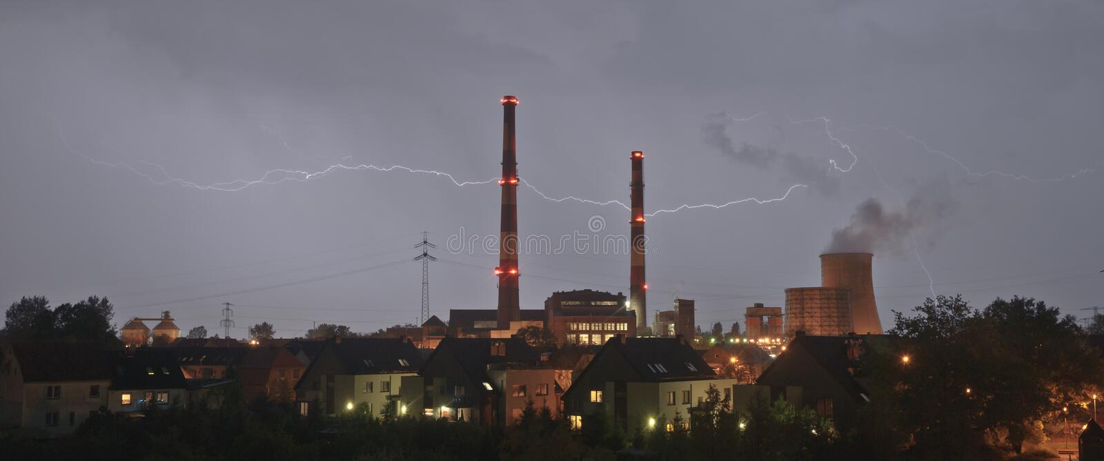 Lightning. Storm and lightning above power station stock images