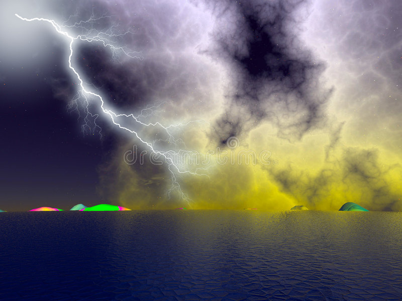 Lightning. Storms with the lightning illustrations royalty free stock photo