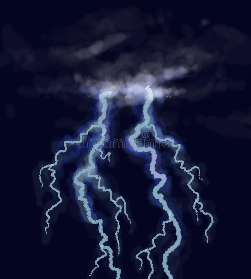 Lightning. Double lightning beating from dark storm sky stock illustration
