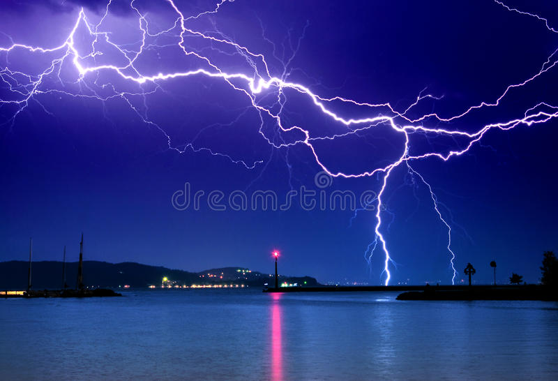 Lightning above the lake. Balaton in Hungary