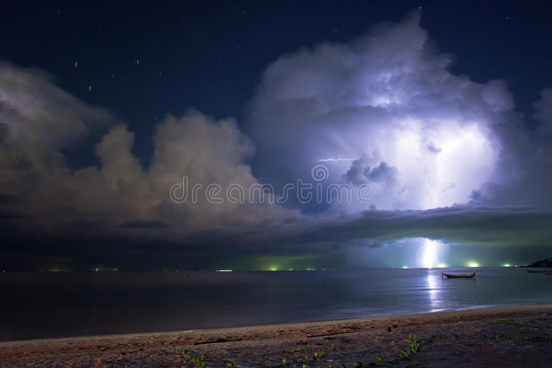 Lightning Above The Sea Stock Photos