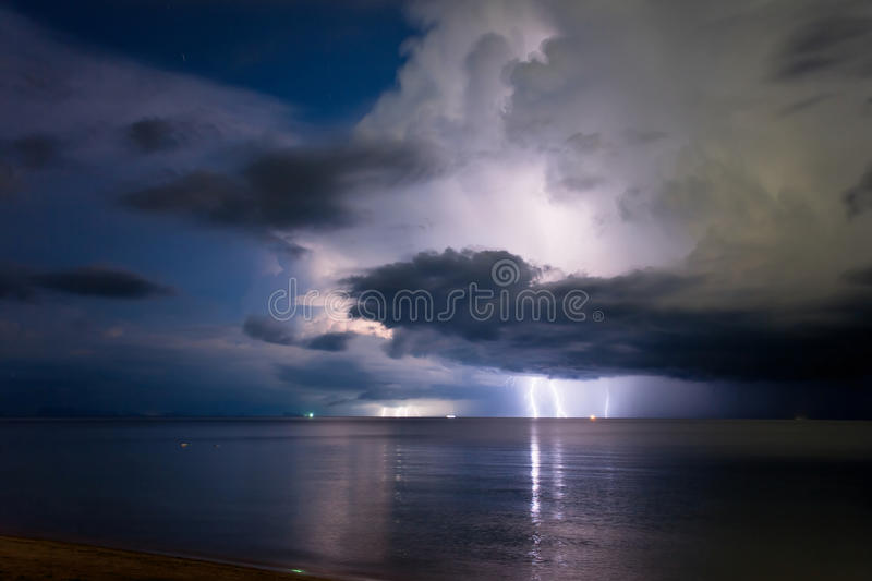 Download Lightning above the sea stock image. Image of powerful - 15660555