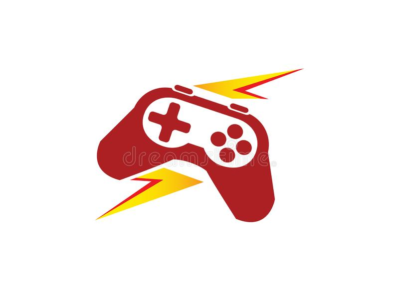 Lightning and analog gaming master console gamer symbol vector logo design illustration on white background stock photo