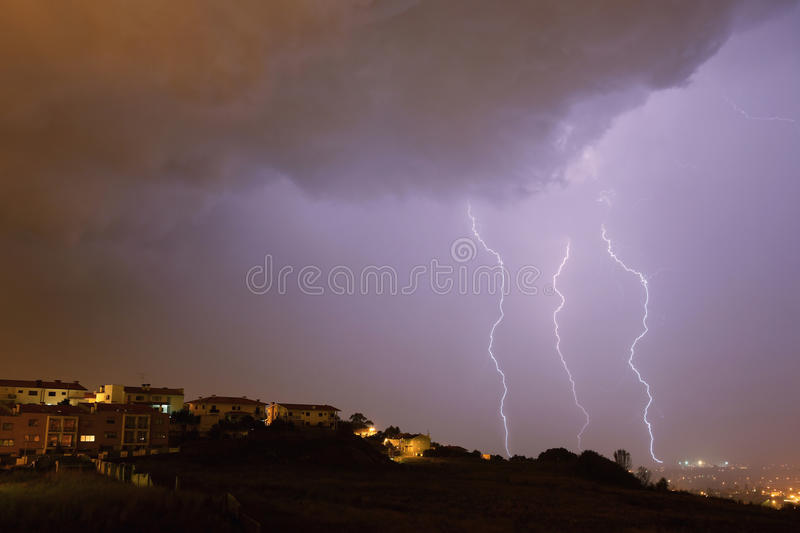 Lightning bolt. In the city of Braga, in the north of Portugal royalty free stock photos
