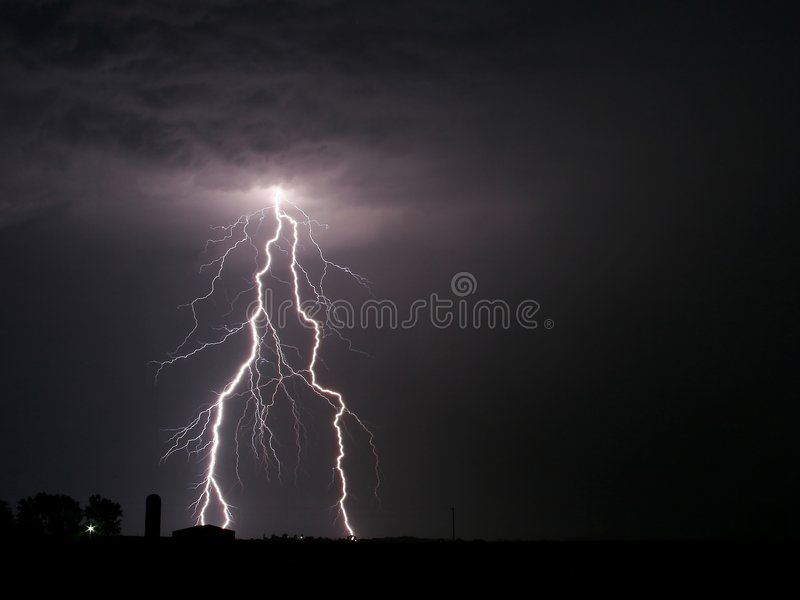 Lightning Bolt Farm thunderstorm royalty free stock photos