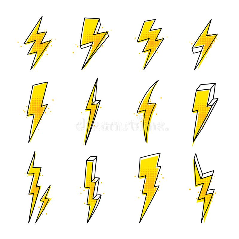 Free Lightning Bolt Hand Drawn Icons Stock Photography - 118884332