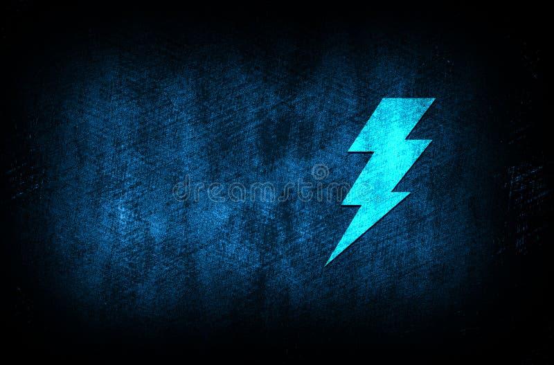 Lightning bolt icon abstract blue background illustration digital texture design concept. Lightning bolt icon abstract blue background illustration dark blue royalty free stock images