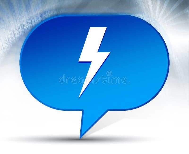 Lightning bolt icon blue bubble background. Lightning bolt icon isolated on blue bubble background stock photo