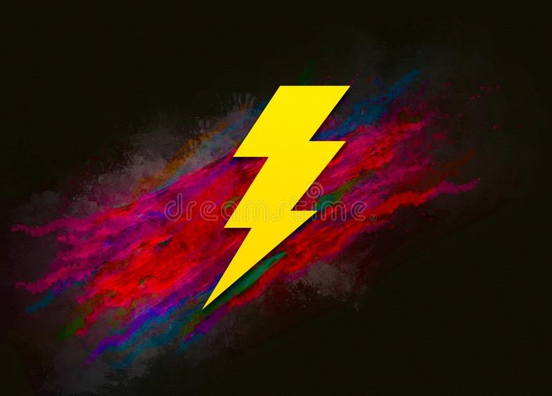 Lightning bolt icon colorful paint abstract background brush strokes illustration design. Creative bright red color texture fluid liquid waves stock image