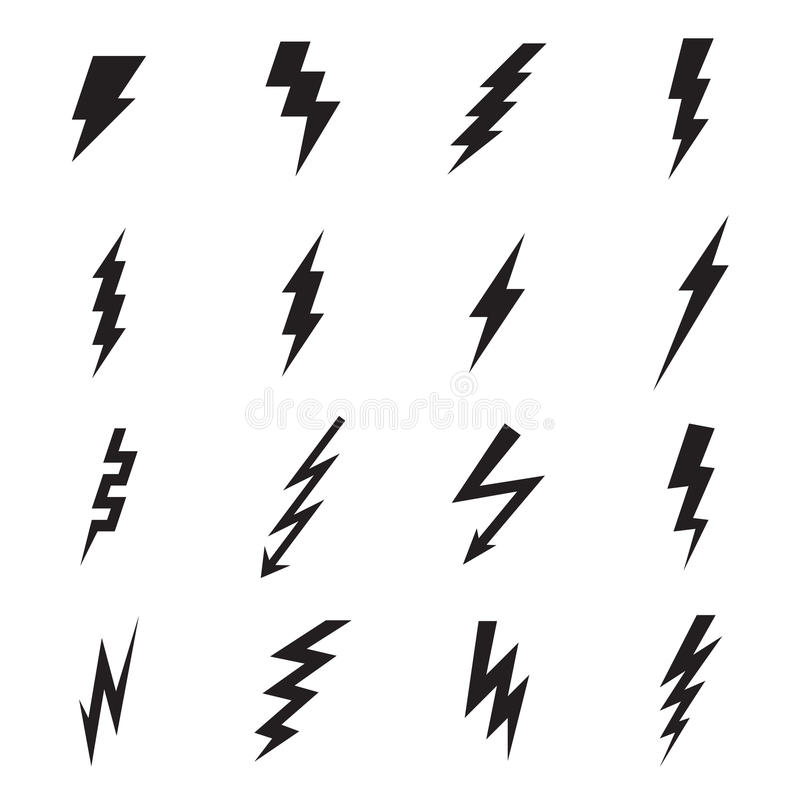 Free Lightning Bolt Icons Isolated On A White Background Stock Image - 67641831