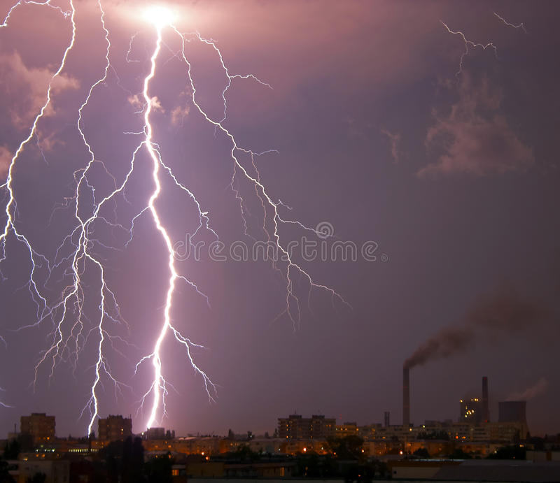 Download Lightning bolt over city stock image. Image of bolt, huge - 11880601