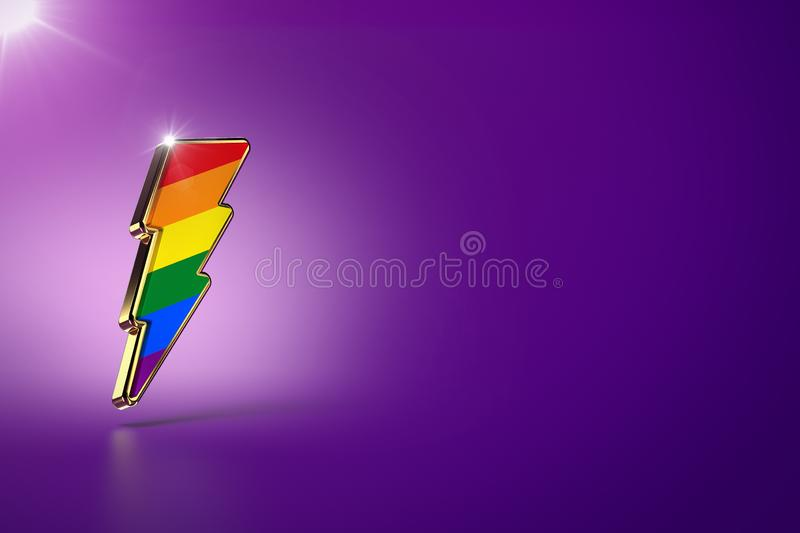 Lightning bolt with rainbow colors on it as pride symbol and movement for gender equality concept.  on purple background vector illustration