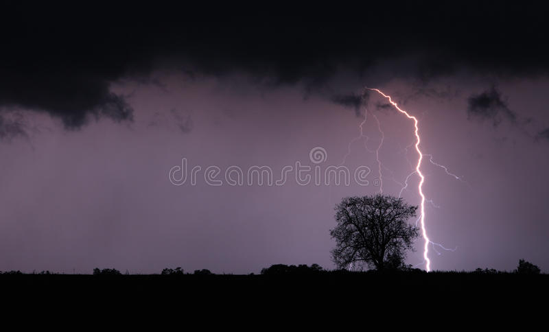 Lightning bolt and storm. Lightning bolt and a storm stock photo