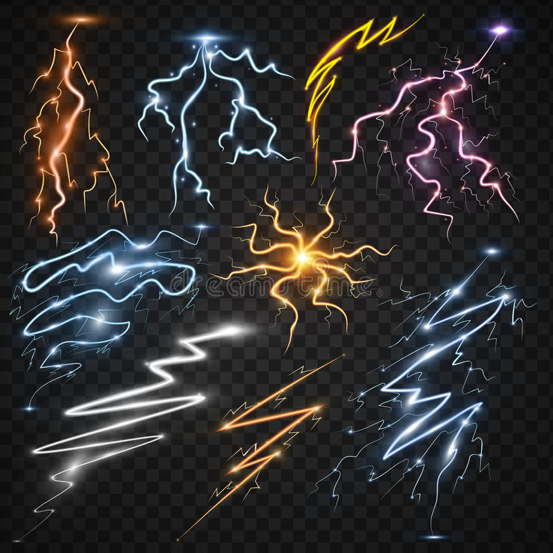 Lightning bolt storm strike realistic 3d light thunder-storm magic and bright lighting effects vector illustration. vector illustration