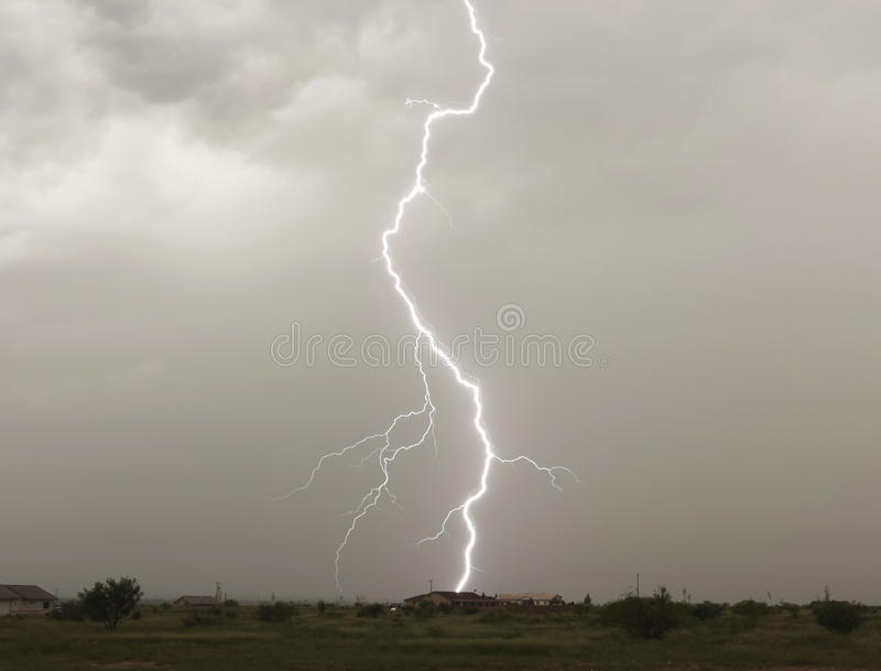 Download A Lightning Bolt Strikes A Rural Home Stock Photo - Image: 26635070