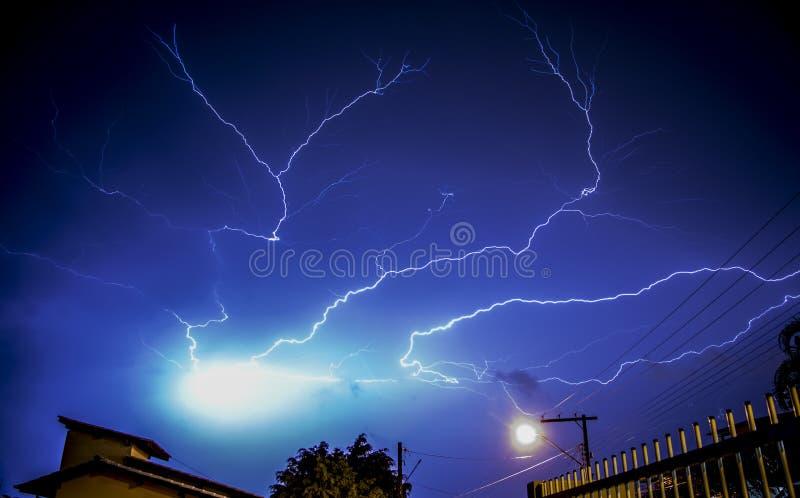 Lightning bolts above buildings