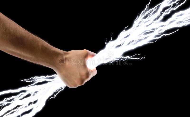 Lightning bolts in hand stock photos