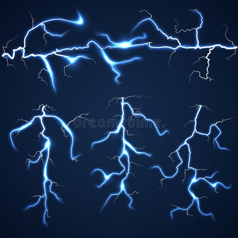 Lightning bolts over dark sky set. Storm and flash bright, summer light vector illustration stock illustration