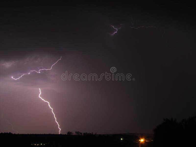 Lightning bolts over Scheepersnek, Natal. royalty free stock photos