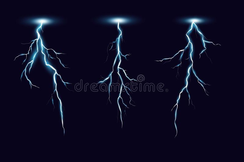 Lightning bolts realistic vector illustrations set. Thunderstorm electricity discharge isolated on black background. Natural phenomena, blue thunderbolt flares royalty free illustration